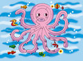 Good beautiful octopus maze children come play fish to see who can out maze Royalty Free Stock Image