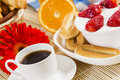 Good beginning of day breakfast with assortment pastries coffees and fresh strawberries Royalty Free Stock Photography