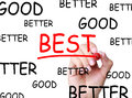 Good better best selection on transparent board Royalty Free Stock Photos