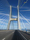 Good bye lisboa snaps of stunning bridge on the way from Royalty Free Stock Photos