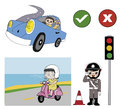 Good driver and police illustration well habit on the road Stock Images