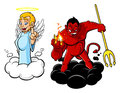 Good and evil illustration of cartoon angel devil the characters are isolated on white background Stock Photo