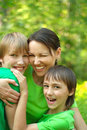 Good family traveled on weekends to nature Royalty Free Stock Image