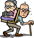 Good friend elderly couple to the hiking that is carrying a grandmother Royalty Free Stock Images