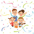Good friend family and paper streamer it is outing an event in families Stock Photo