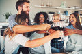 Good friends toasting with wine glasses Royalty Free Stock Photo