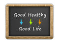 Good healthy good life written concept on chalkboard Stock Photos