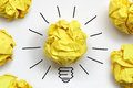 Good idea inspiration concept crumpled paper light bulb metaphor for a Stock Photography