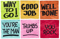 Good job and well done way to go you re the man thumbs up you rock a set of isolated sticky notes with positive affirmation words Royalty Free Stock Photography