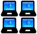 Good life improvements loading on the computer Royalty Free Stock Photography