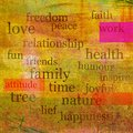 Good living design words in concept of life and spirit on painting Royalty Free Stock Photos
