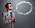 Good looking man thinking about speech or thought bubble with co young copy space Stock Image