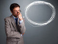 Good looking man thinking about speech or thought bubble with co young copy space Stock Images