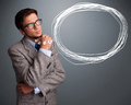 Good looking man thinking about speech or thought bubble with co young copy space Stock Photo