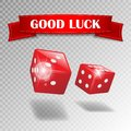 Good luck banner with realistic casino dice on transparent background. Realistic dice and good luck text ribbon. Web Royalty Free Stock Photo