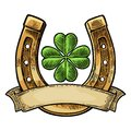 Good luck four leaf clover and horseshoe with ribbon