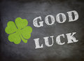 Good luck graphic with letters and a cloverleaf Stock Photo