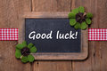 Good luck old chalkboard with text good luck new year gree greeting Royalty Free Stock Photo