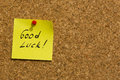 Good luck post-it note Royalty Free Stock Photo