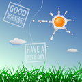 Good morning cartoon concept and have a nice day illustration with scrambled sun Stock Images