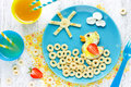 Good morning concept, creative idea for fun children food Royalty Free Stock Photo