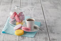 Good morning concept with espresso and macaroons Royalty Free Stock Photo