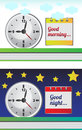 Good morning good night vector illustrations of and with clock and calendar Stock Photos