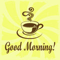 Good morning illustration with coffee decoration on grunge background Royalty Free Stock Images
