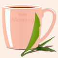 Good morning illustration vector cap of tea with tea leaves Stock Photo