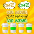 Good morning lettering vector set illlustration with coffee Royalty Free Stock Photo