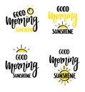 Good morning sunshine nice vector calligraphy lettering motivation phrase poster design Royalty Free Stock Photo