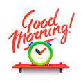 Good Morning. Workspace mock up with analog alarm
