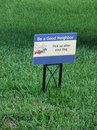 Good neighbor sign be a pick up after your dog Stock Image