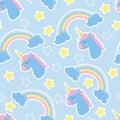 Good night background. Seamless pattern with unicorns