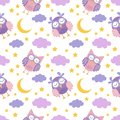 Good Night seamless pattern with cute sleeping owls, moon, stars and clouds. Sweet dreams background
