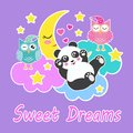 Good night and sweet dreams card with sleeping owls, cute panda bear, clouds, moon and stars. Vector illustration. Eps