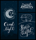 Good night sweet dreams sleep tight banners cute or sleeping related themed cards with hand lettering Royalty Free Stock Photography