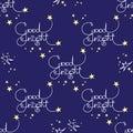Good night. Vector seamless pattern of handwritten words and stars.