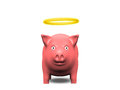 Good pig with halo on white Stock Photography