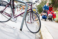 Good place to live street urban scenery with lots of bikes and families with children Stock Photo