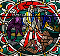 The good samaritan a stained glass photo of Royalty Free Stock Photography