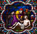 The good samaritan stained glass window of Stock Image