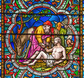 Good samaritan stained glass window cathedral depicting the story Royalty Free Stock Images