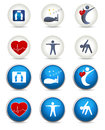 Good sleep fitness and other healthy living icons two styles white blue weight leads to Stock Images