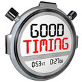Good timing words stopwatch timer fast speed arrival on a or marking your or quick at just the right moment Royalty Free Stock Photo
