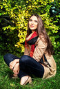Good weather beautiful young woman at the autumn park Royalty Free Stock Images