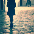 Goodbye female vintage women on street filter effect used Royalty Free Stock Photo