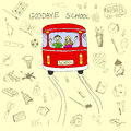 Goodbye school concept, school bus and children in it with hand Royalty Free Stock Photo