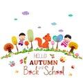 Goodbye summer. enjoy autumn happy smiling girls and boys ground round background Royalty Free Stock Photo