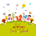 Goodbye summer. enjoy autumn happy smiling girls and boys ground round background Royalty Free Stock Photo